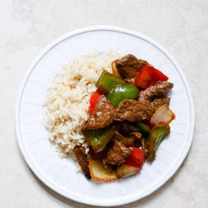 Stir Fried Beef with one accompaniment